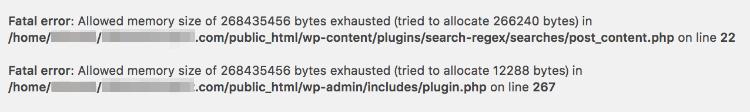 search-regex-errors